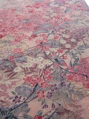 """3J01z70 Japanese Kimono Crepe Silk  FABRIC Light pink Bird 38.6"""""""