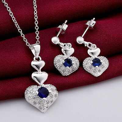 925Sterling Silver Fashion Jewelry Lovely Blue Zircon Heart Necklace+E Set S772