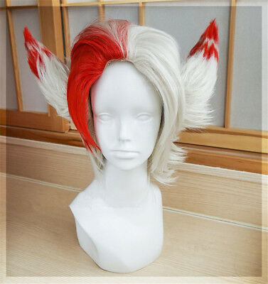 League of Legends LOL Vastaya RAKAN Cosplay Hair Wig Ear Valentine/'s Day Style