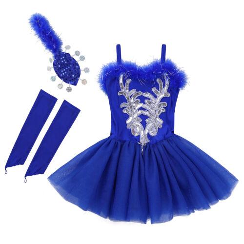 UK Girls Ballerina Costume Ballet Dance Leotard Dress Sequined Floral Dancewear