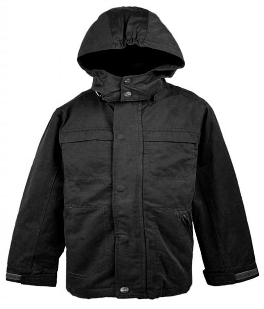 Jungen Winter gefüttert gesteppte abnehmbare Kapuzenjacke Mantel Anorak Schwarz 5 bis 6 Jahre