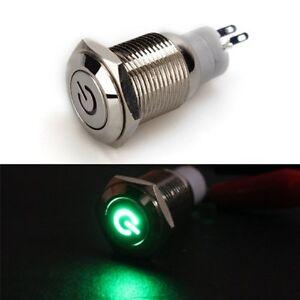 Interruttore-a-Pulsante-in-Metallo-con-LED-Verde-16mm-12V-3A-D6Y8-W5O4