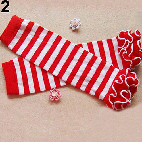 BG/_ Child Toddle Baby Winter Warmer Leg Warmers Knee Ruffle Solid Color Christma