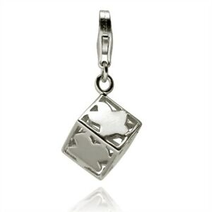 Rafaela-Donata-Damen-Charm-Anhaenger-echt-Silber-925-Sterling-Wuerfel-Einhaenger