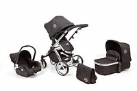 3 In1 Travel System By Babi Black Pushchair Pram Car Seat Carrycot