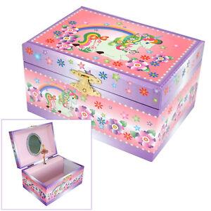 GIRLS PINK MUSICAL UNICORN & RAINBOW JEWELLERY BOX ROTATING BALLERINA FIGURINE