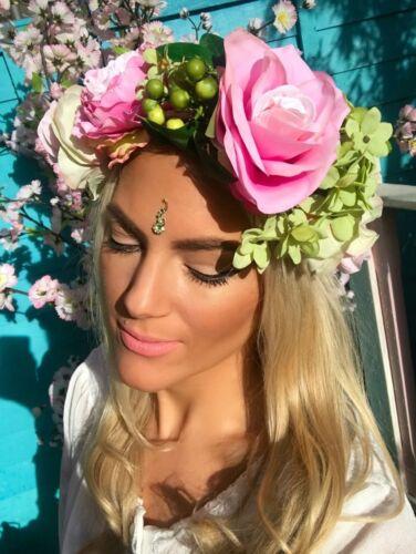 Big Pink Rose Green Hydrangea Flower Crown Garland Hair Head Band Choochie Choo