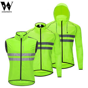 Cycling-Hoodie-Jacket-Reflective-Windproof-Vest-Bike-Riding-Sports-Mens-Green
