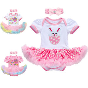 Baby Girl My First Easter Outfits Egg Bunny Romper Tutu Dress Clothes Costume