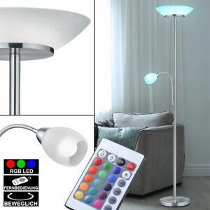Glas LED Stand Leuchte Nickel matt Gästezimmer Steh Lampe 3000 Kelvin Schalter