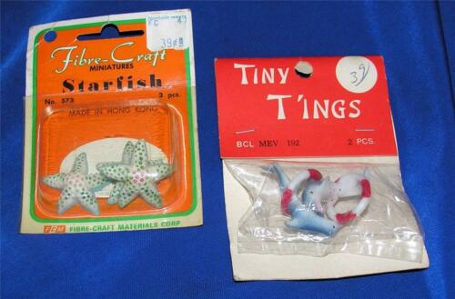 2 VTG 1970S PKGS HARD PLASTIC CRAFTS, DOLL HOUSE MINIATURES DOLPHINS, STARFISH