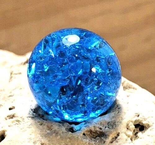 "Vintage Vitro Aqua Turquoise Blue Crackle Marble .60/"" Jewelry Fenton Glass #8"