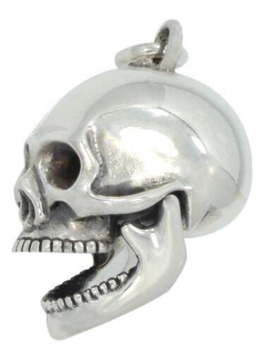 Men/'s 1.25in 0.925 Sterling Silver Moveable Gothic Skull Skeleton Charm Pendant