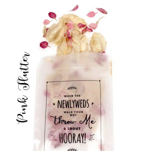 throw me wedding peel /& Seal x 25 Newlywed Confetti Glassine bags Confetti