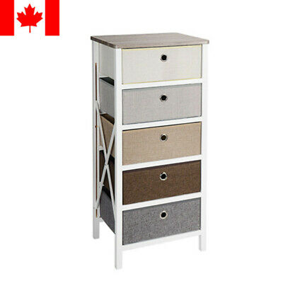 5-Drawer Storage Organizer Closet Bedroom Nightstand Living Room Entryway Table