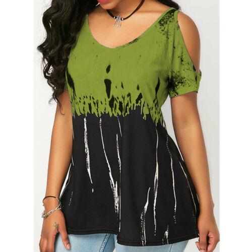 Women Blouse Tunic Shirt Top Ladies Casual Loose Short Sleeve T-Shirt Long Tee