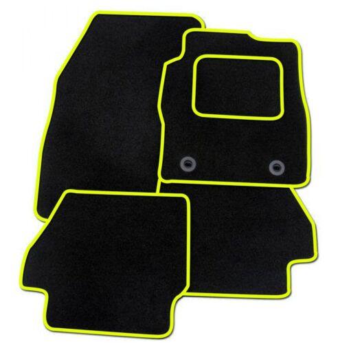 FORD fiesta à partir de 2011 sur mesure tapis de voiture noir avec bordure jaune