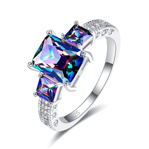 2018 Engagement Emerald Cut Rainbow White Topaz Sapphire Gemstone Silver Ring