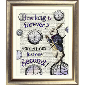 ART-PRINT-ON-ORIGINAL-ANTIQUE-BOOK-PAGE-Alice-in-Wonderland-WHITE-RABBIT-Clocks
