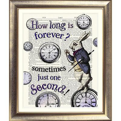ART PRINT ON ORIGINAL ANTIQUE BOOK PAGE Alice in Wonderland WHITE RABBIT Clocks