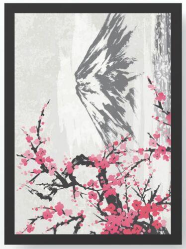 Bild DIN A4 A3 K0036 ungerahmt Japanische Kunst Berg Blüte Kunstdruck Poster