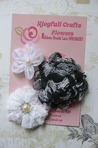 HANDMADE-3-Flower-Mix-BLACK-amp-WHITE-Lace-Organza-55-70-amp-90mm-NjoyfullCrafts
