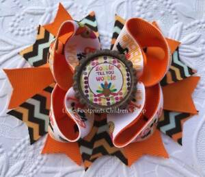 Thanksgiving Turkey Gobble til you Wobble Chevron Bottle Cap Hair Bow 4 1/2""