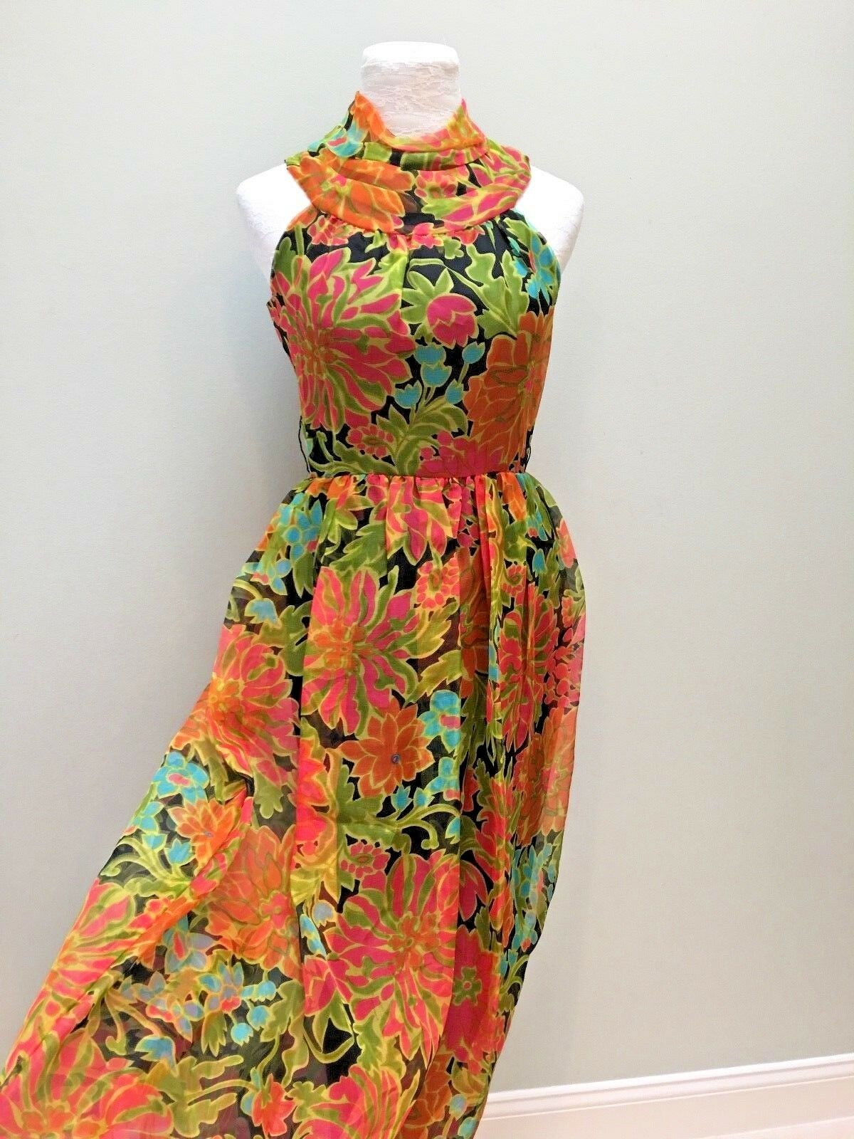 Vintage Long Organdy Dress Floral Mod Hawaiian Halter Orange Turquoise Small