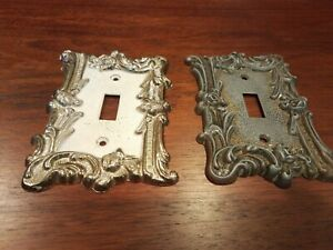 2-Vintage EDMAR antique brass HOLLYWOOD REGENCY Covers Switch 60T