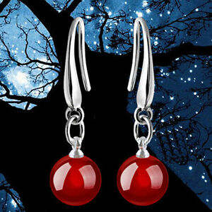 Chic-Womens-Plated-silver-Natural-Red-Agate-Drop-Dangle-Hook-Earrings