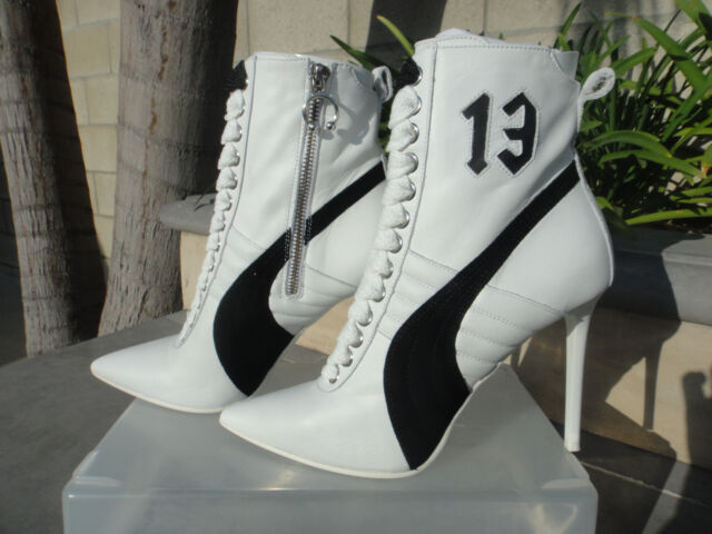 Puma Fenty by Rihanna White Leather or Black Suede High Heel Sneaker UK5.5  US8M