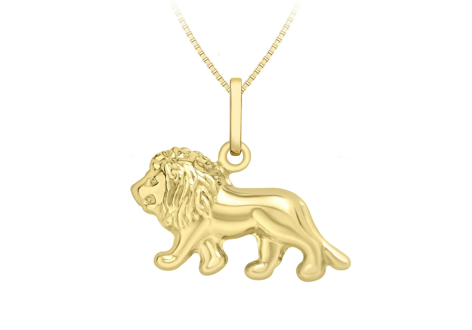 9ct Yellow gold Lion Pendant On 18  Curb Chain Inc Gift Box