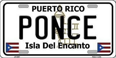 PONCE PUERTO RICO NOVELTY STATE BACKGROUND METAL LICENSE PLATE