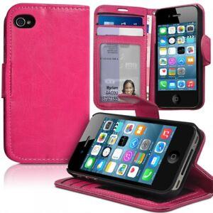 Détails sur Housse Etui Coque Portefeuille Couleur Rose Fushia pour Apple iPhone 4 / 4S