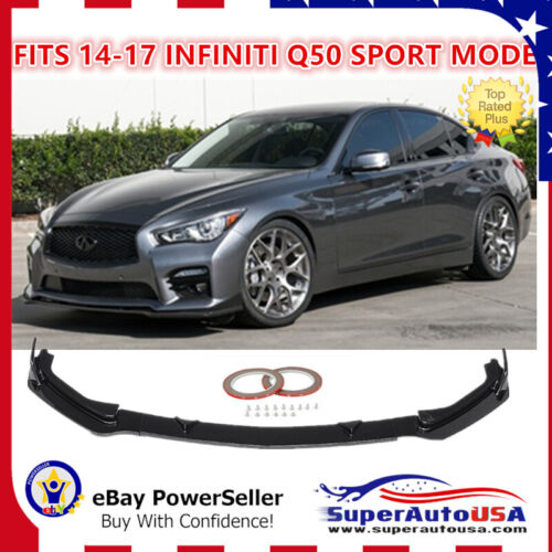 Fit For 14-17 Infiniti Q50 Sport  Glossy Black Front Bumper Lip Spoiler Splitter