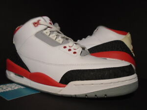 36a3733172bfef NIKE AIR JORDAN III 3 RETRO WHITE FIRE RED CEMENT GREY BLACK OG ...