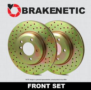 BRAKENETIC SPORT Cross DRILLED Brake Disc Rotors BNS35097.CD FRONT SET