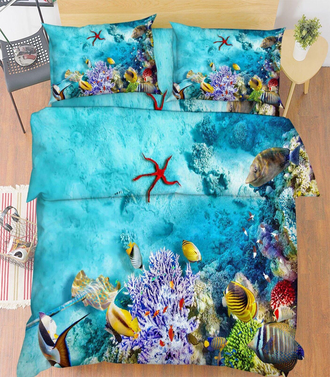 3D Seaweed Natural 66 Bed Pillowcases Quilt Duvet Cover Set Single King UK Lemon