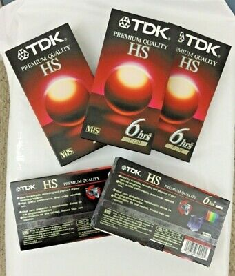 5 Tdk Prenium Quality Hs 6 Hrs T-120 Vhs Tapes 4 New & 1unsealed Gama Completa De ArtíCulos
