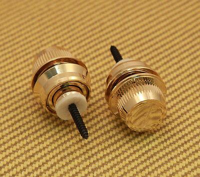 """NEW 099-0818-302 GOLD Fender FSLG1 /""""F/"""" Logo Strap Lock System"""