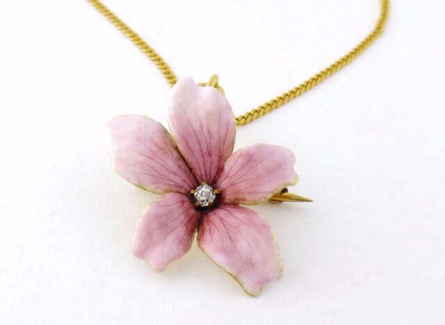Antique Art Nouveau 14K Enamel Diamond Pink Flower Pendant 10K Chain Necklace