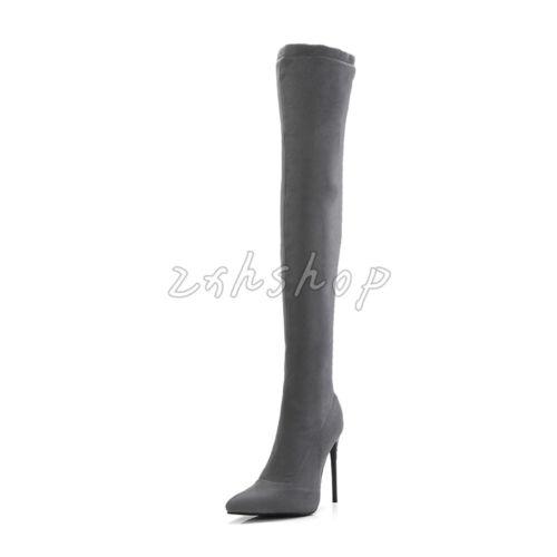 Edel Spitz Zehe Winter Overknee Damen High Stilettos Heels Gr.34-48 Stiefel