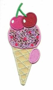 Ice cream cone sparkled  iron on patch 3.5/""
