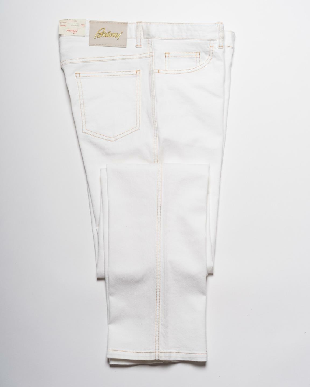 Brioni Bianco' Marmolada' Misto Cotone 5 Tasca Jeans Dritto 50 It 34