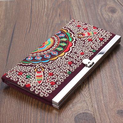 Women Linen Long Wallet Ethnic Embroider Purse Clip Clutch Handbag Phone Bag HOT