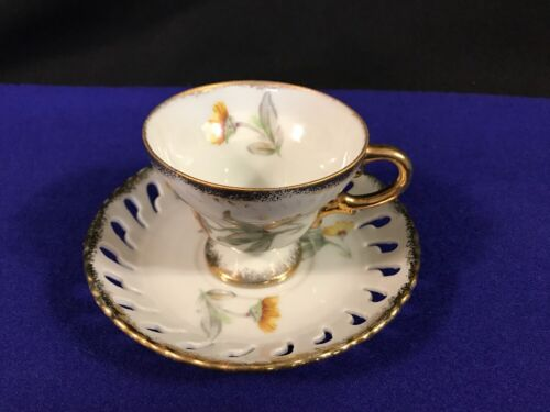 Footed Demitasse Tea Cup /& Laced Edge Saucer W//Gold Trim /& Yellow Flower