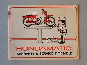 1966 Honda Super Cub C50 Hondamatic Warranty & Service ...