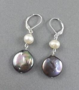 1-034-Peacock-black-coin-Feshwater-Pearls-dangle-earrings-silver-leverback-hooks