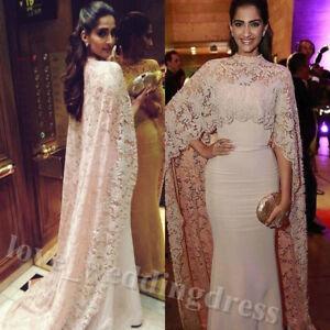 f432b2e7e74 Elegant Arabic Mermaid Prom Dress Lace Cape Formal Long Evening Ball ...