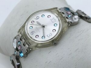 Swatch-Swiss-Ladies-Watch-Multi-Color-Crystals-Accent-Metal-Band-Analog-Watch